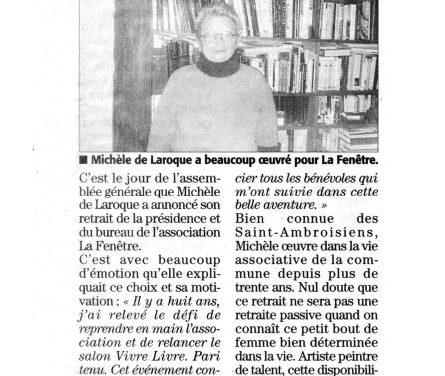 Michèle de Laroque quitte la Présidence de La Fenêtre