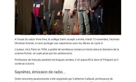 Le collège Saint-Joseph a invité l'écrivain Christian Grenier